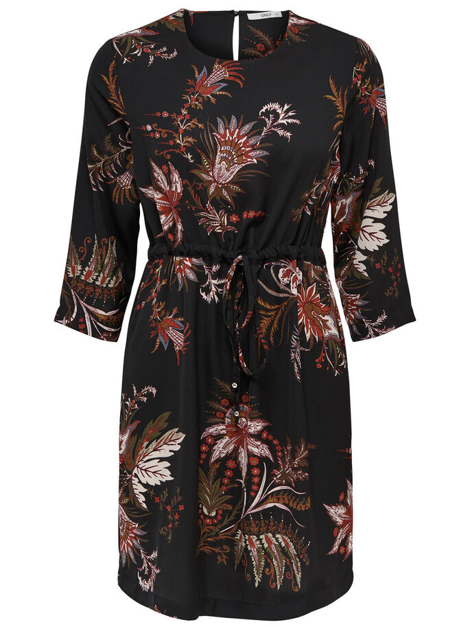 FLOWERED DRESS, Black, large