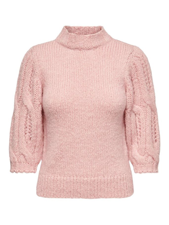 3/4 HIGHNECK WOOL PULLOVER, Silver Pink, large
