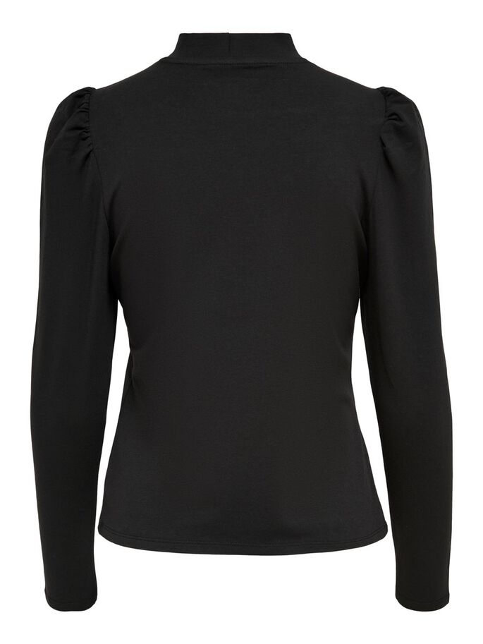 PUFF SLEEVE LONG SLEEVED TOP, Black, large