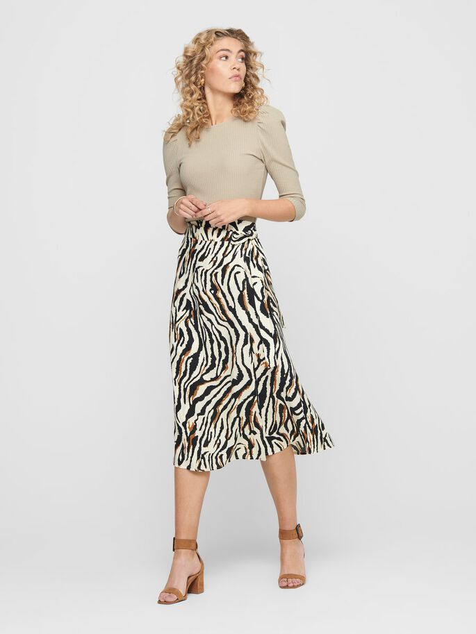 PRINTED MIDI SKIRT, Cloud Dancer, large