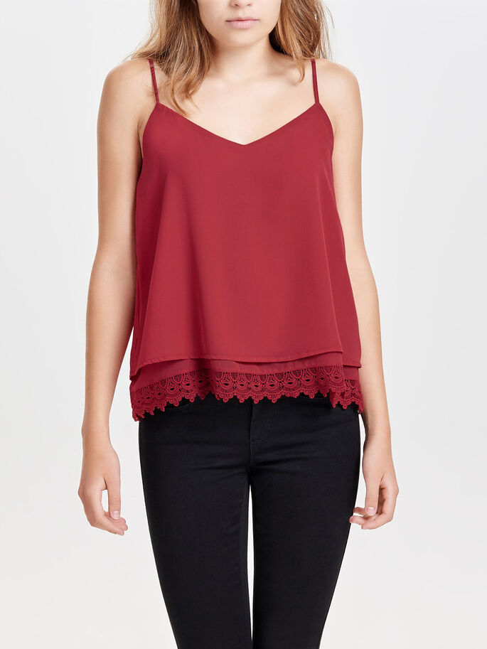 GEDETAILLEERDE MOUWLOZE TOP, Earth Red, large