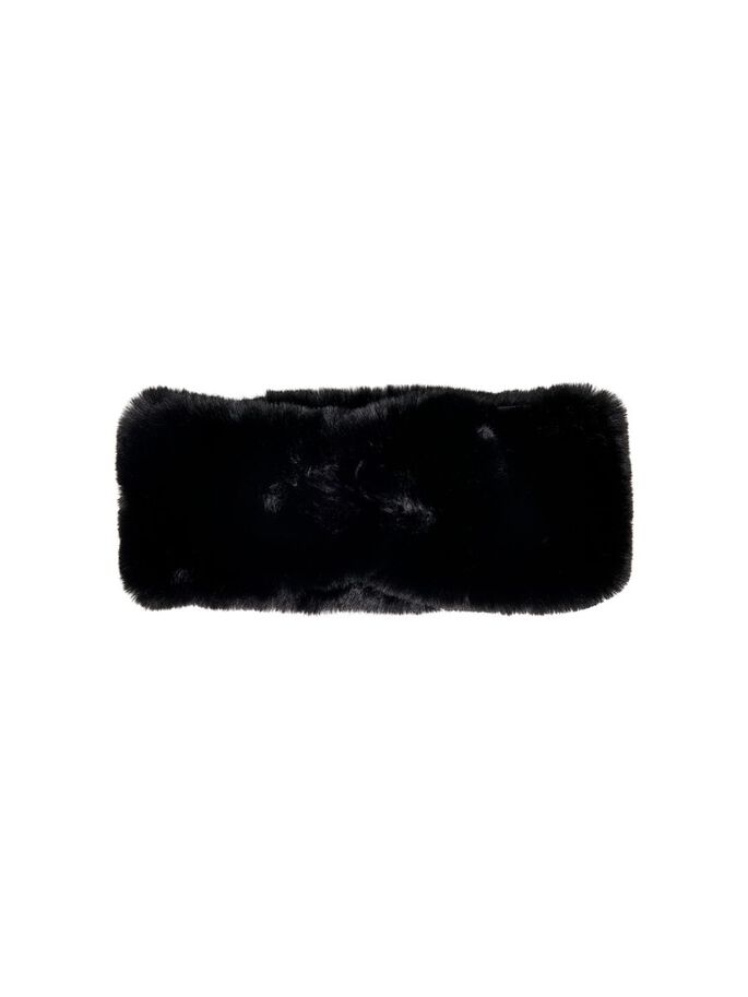 FAUX FUR HEADBAND, Black, large
