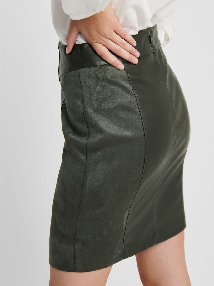 FAUX LEATHER SKIRT, Peat, large