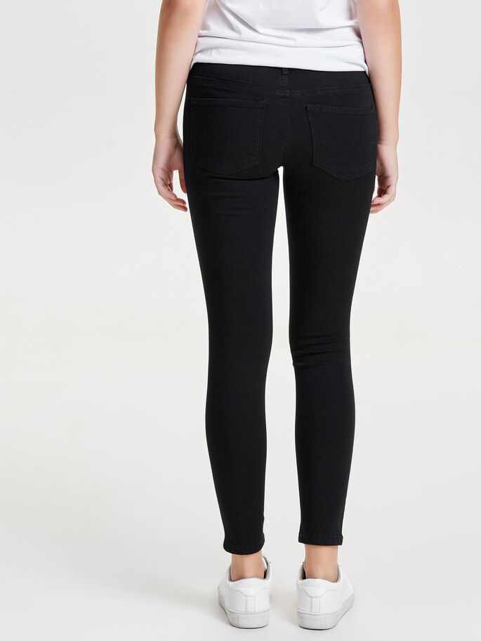 JDY LOW FANO KNEECUT JEANS SKINNY FIT, Black Denim, large