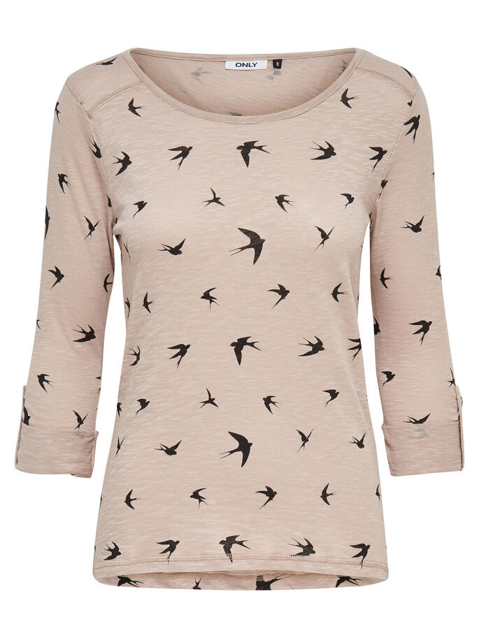 PRINTED 3/4 SLEEVED TOP, Simply Taupe, large