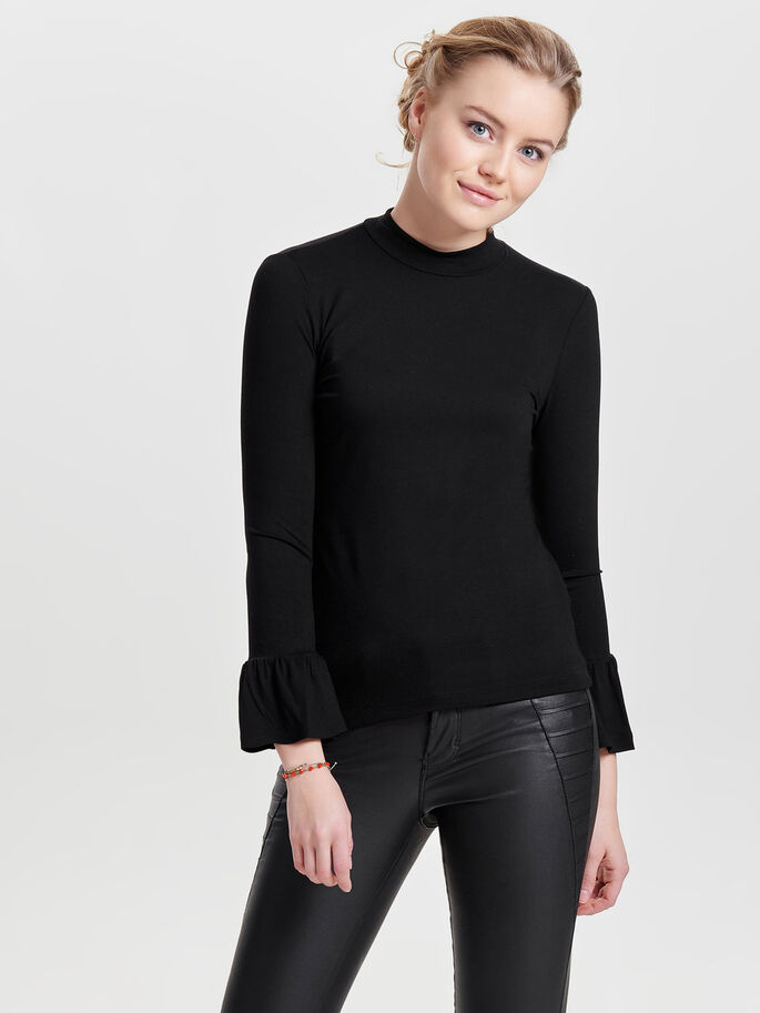 PEPLUM LONG SLEEVED TOP, Black, large