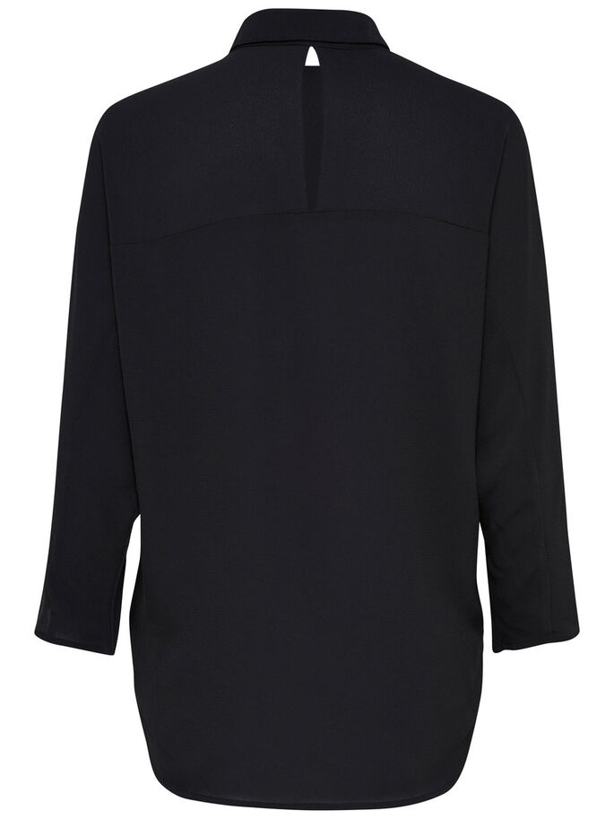 SOLID BATSLEEVE SHIRT, Black, large