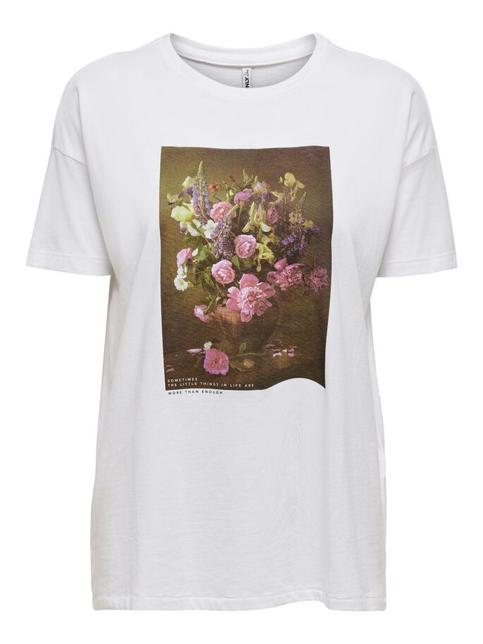 FRONT PRINT T-SHIRT, Bright White, large