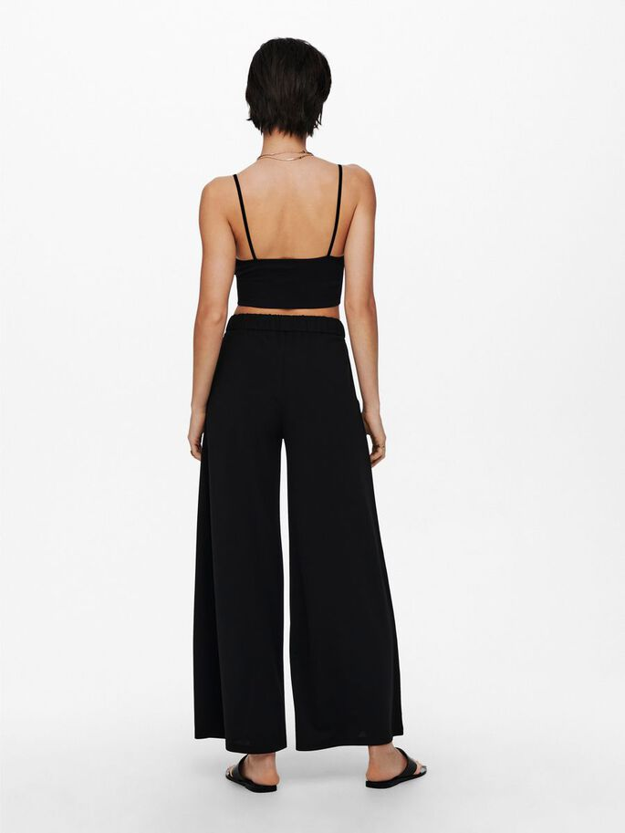 WIDE TROUSERS, Black, large