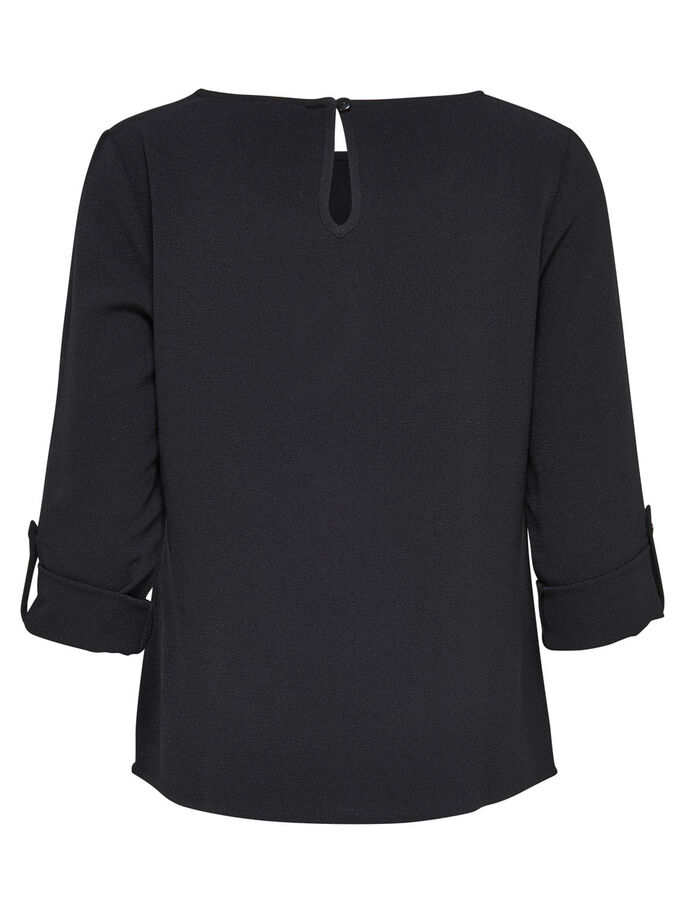 REVERS TOP MANCHES 3/4, Black, large