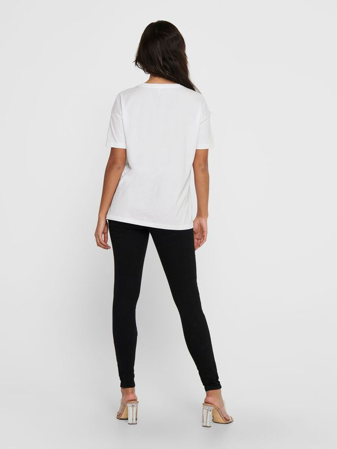 OVERSIZE FRONT PRINT T-SHIRT, Bright White, large