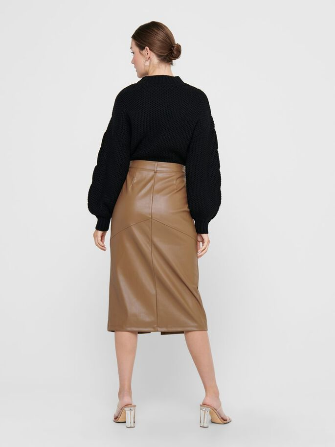 FAUX LEATHER MIDI SKIRT, Warm Sand, large