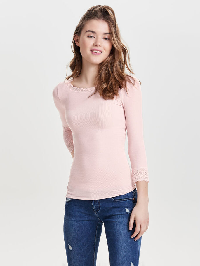 KANTEN TOP MET 3/4 MOUWEN, Pale Mauve, large