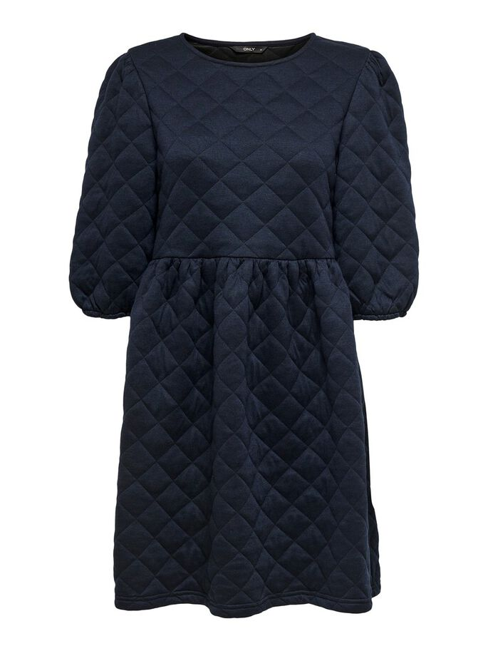 QUILTED DRESS, Black, large