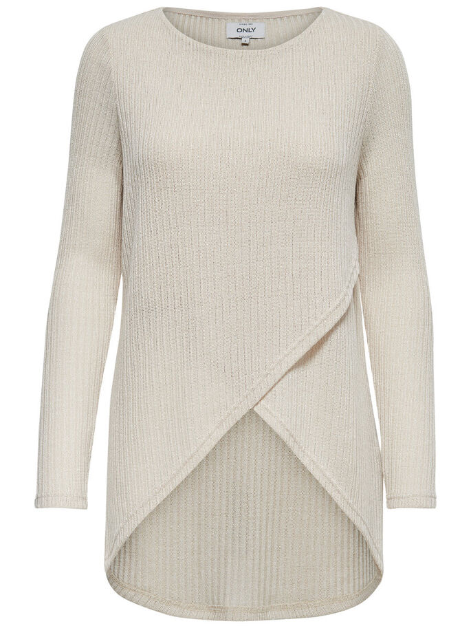 TWIST KNITTED PULLOVER, Pumice Stone, large