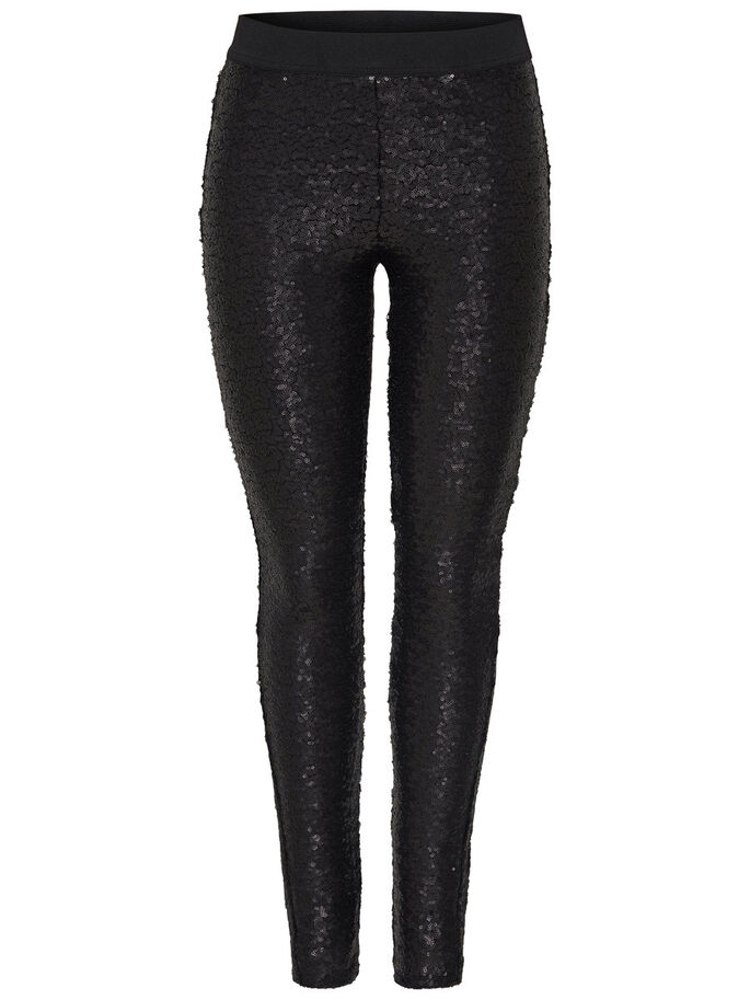 SEQUINS LEGGINGS, Black, large