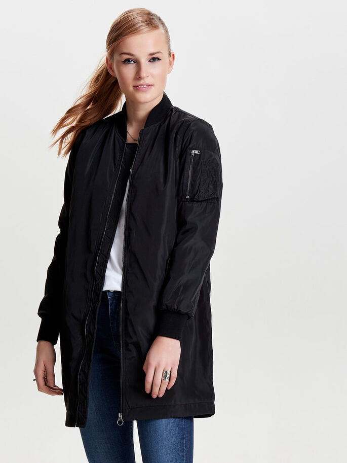 TIPO BOMBER DE NAILON ABRIGO, Black, large