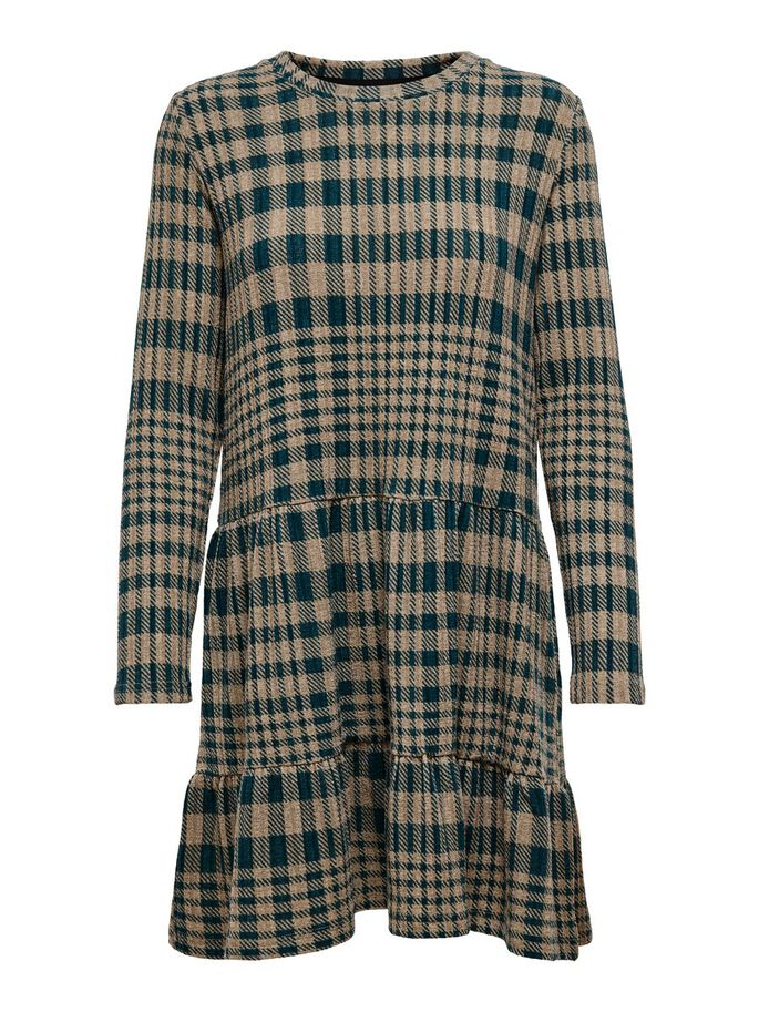 CHECKED DRESS, Deep Teal, large