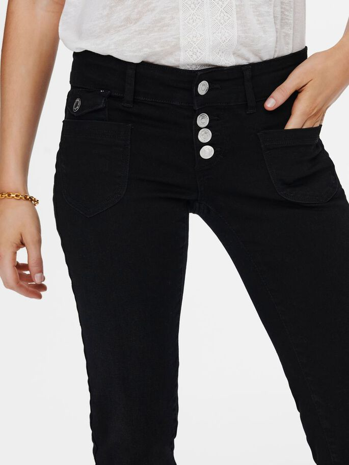 ONLEBBA ANKLE BUTTON STRAIGHT FIT JEANS, Black Denim, large