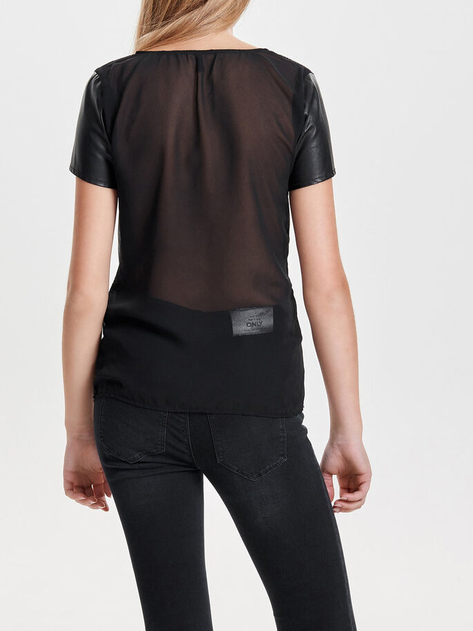 LEATHER LOOK TOP MET KORTE MOUWEN, Black, large