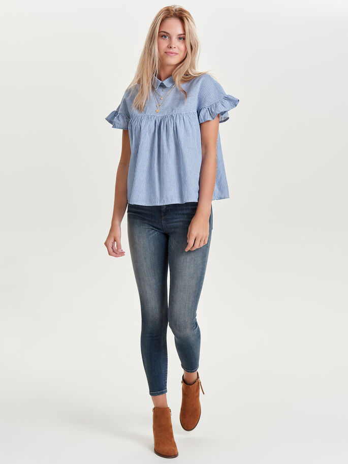 FRILL SHORT SLEEVED TOP, Cloud Dancer, large