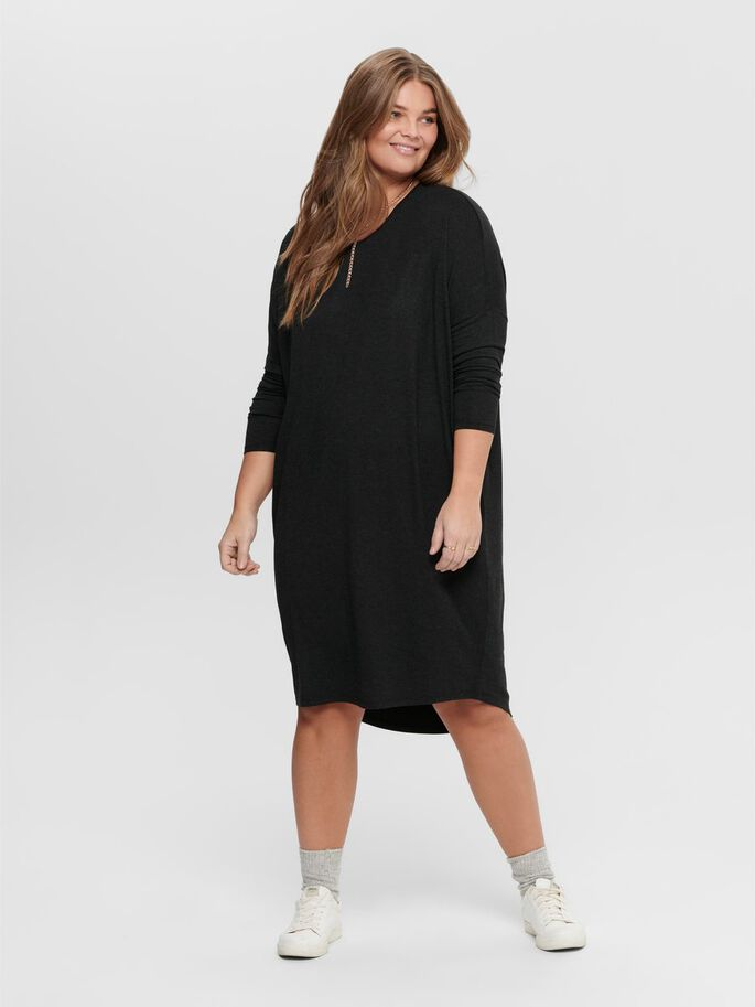 CURVY KNEE DRESS, Black, large