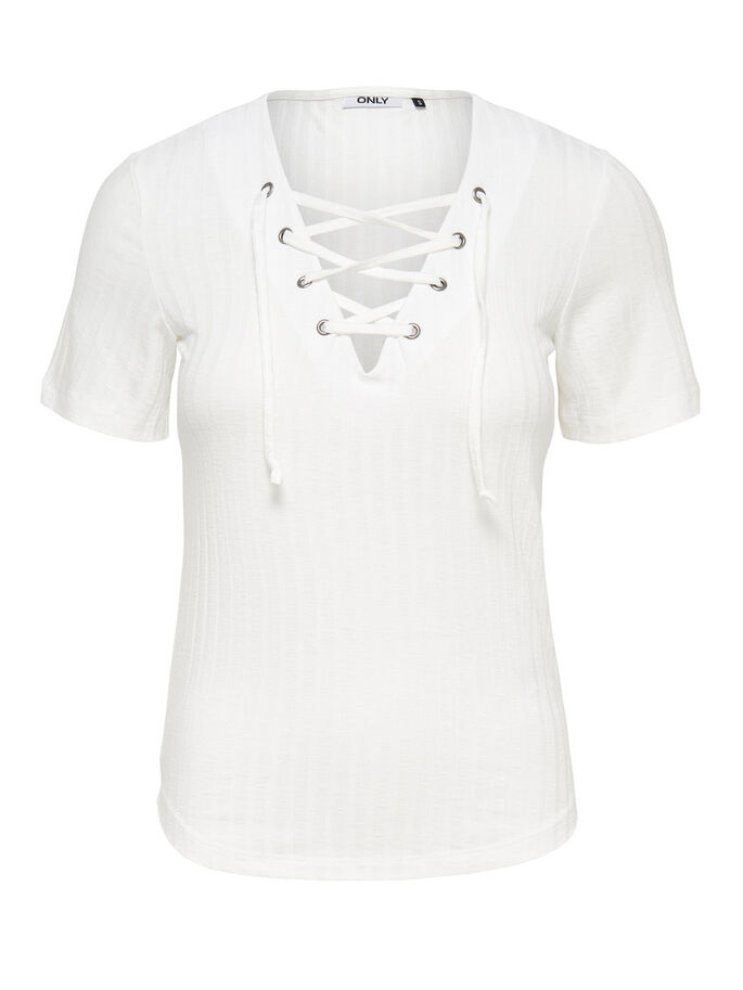 LACE-UP SHIRT MET 2/4 MOUWEN, Cloud Dancer, large
