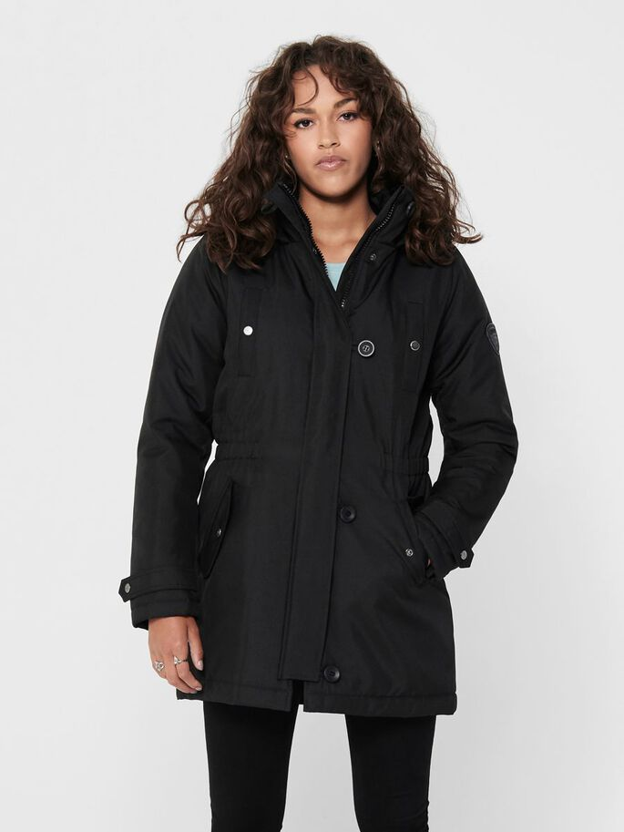 SOLID COLORED PARKA, Black, large