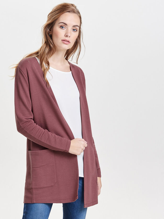 SWEAT- STRICKJACKE, Rose Brown, large