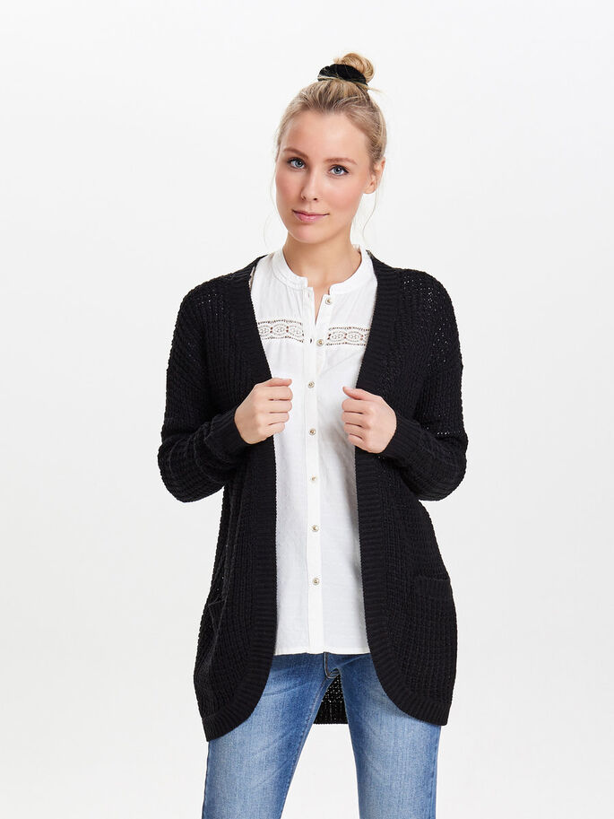 LOOSE KNITTED CARDIGAN, Black, large