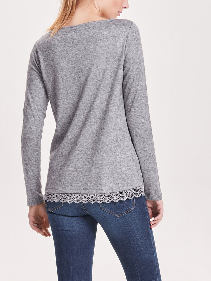 LACE LONG SLEEVED TOP, Light Grey Melange, large