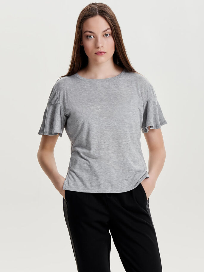 RUCHE TOP MET KORTE MOUWEN, Light Grey Melange, large