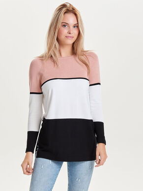 LONG CONTRAST KNITTED PULLOVER