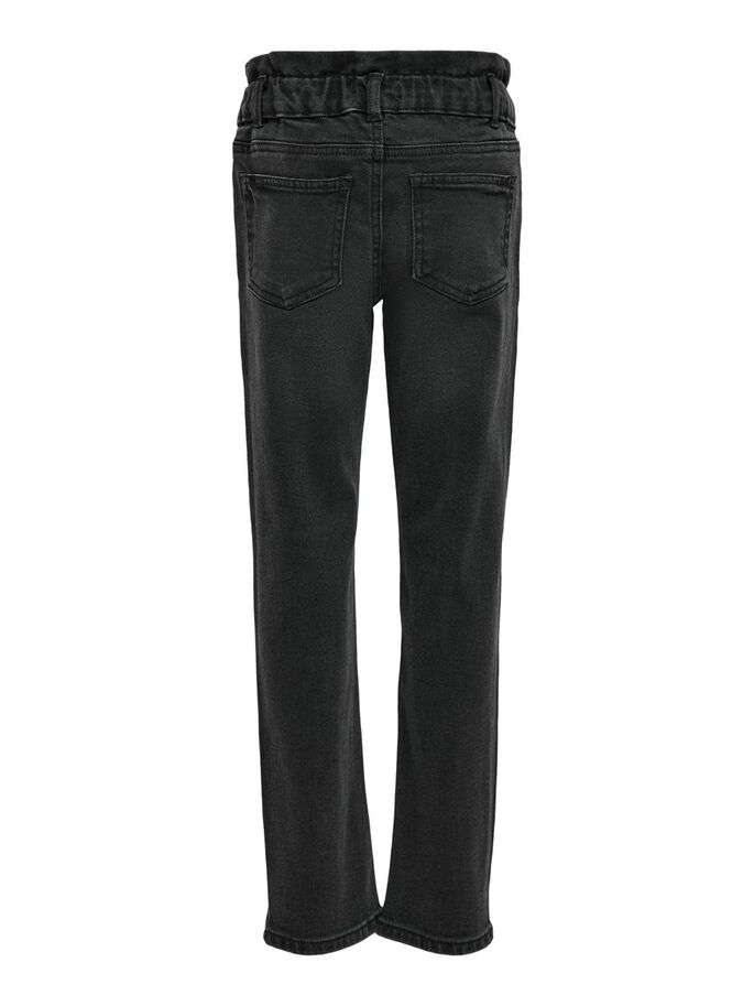 KONTESSIE PAPERBAG HIGH WAISTED JEANS, Black Denim, large