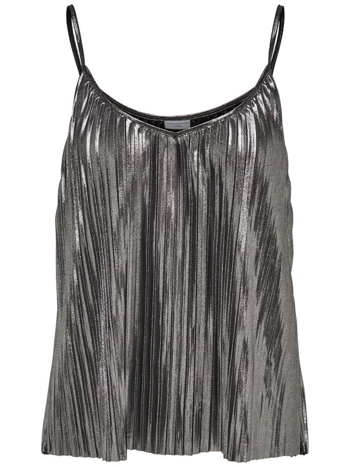 PLEAT SLEEVELESS TOP, Grey, large