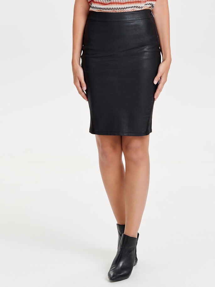 LEATHER LOOK MIDDELLANGE ROK, Black, large