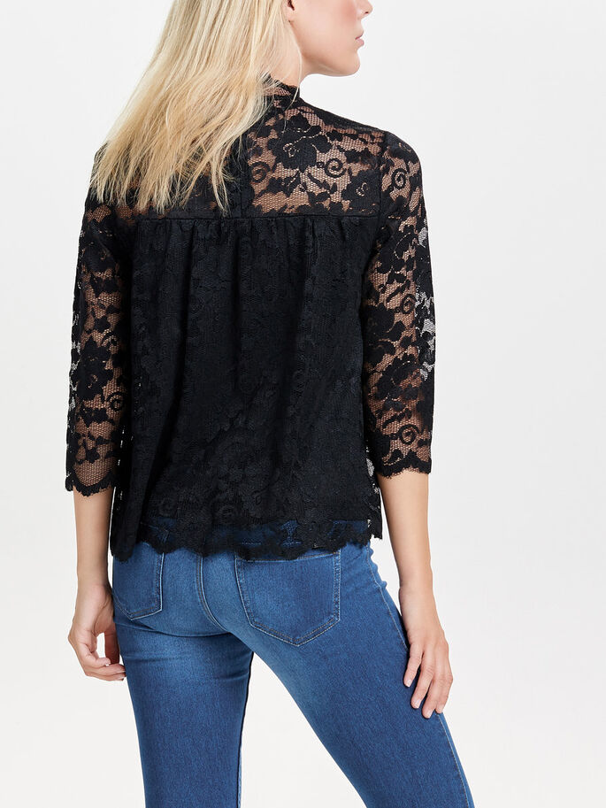 LACE 3/4 SLEEVED TOP, Black, large