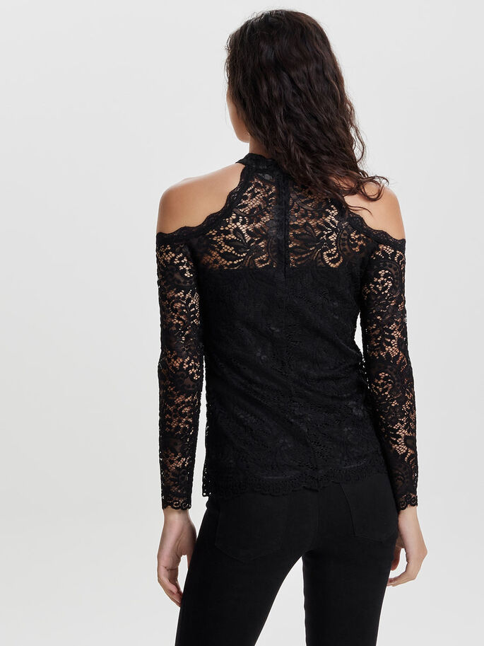 COLD-SHOULDER LACE LONG SLEEVED TOP, Black, large