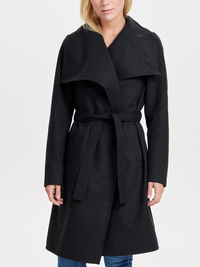 LONG DRAPÉ TRENCH, Black, large