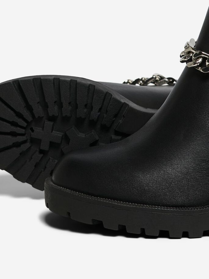 CHAIN BOOTS, Black, large