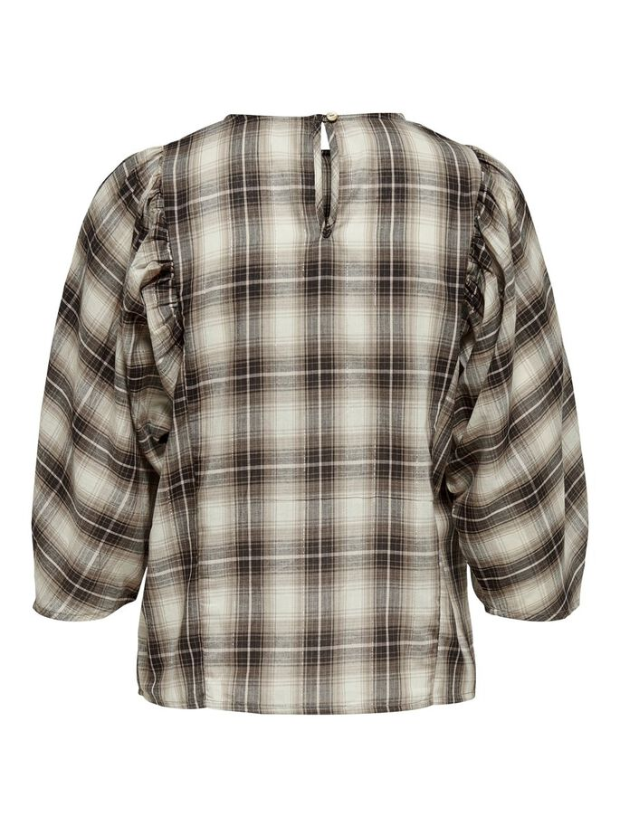 CHECKED TOP, Beige, large