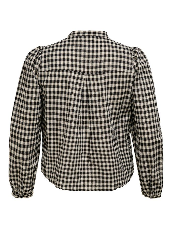 CURVY CHECKED SHIRT, Black, large