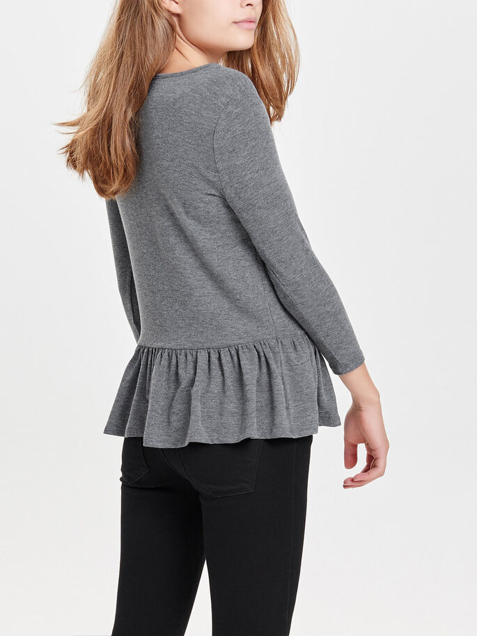 PEPLUM TOP MED 3/4-ÆRMER, Dark Grey Melange, large