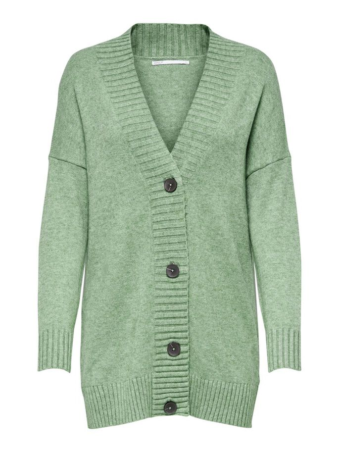 BUTTON KNITTED CARDIGAN, Hedge Green, large