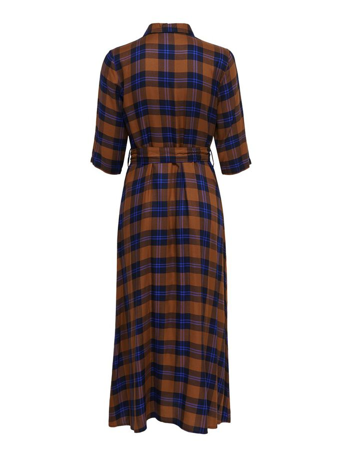 CHECKED SHIRT DRESS, Leather Brown, large