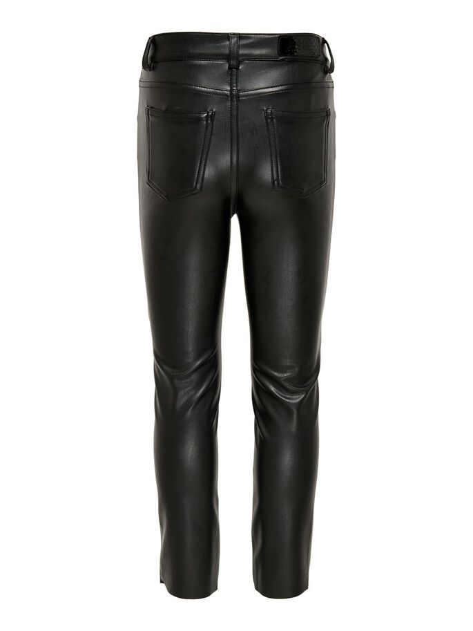 KONEMILY HW STRAIGHT FAUX LEATHER TROUSERS, Black, large