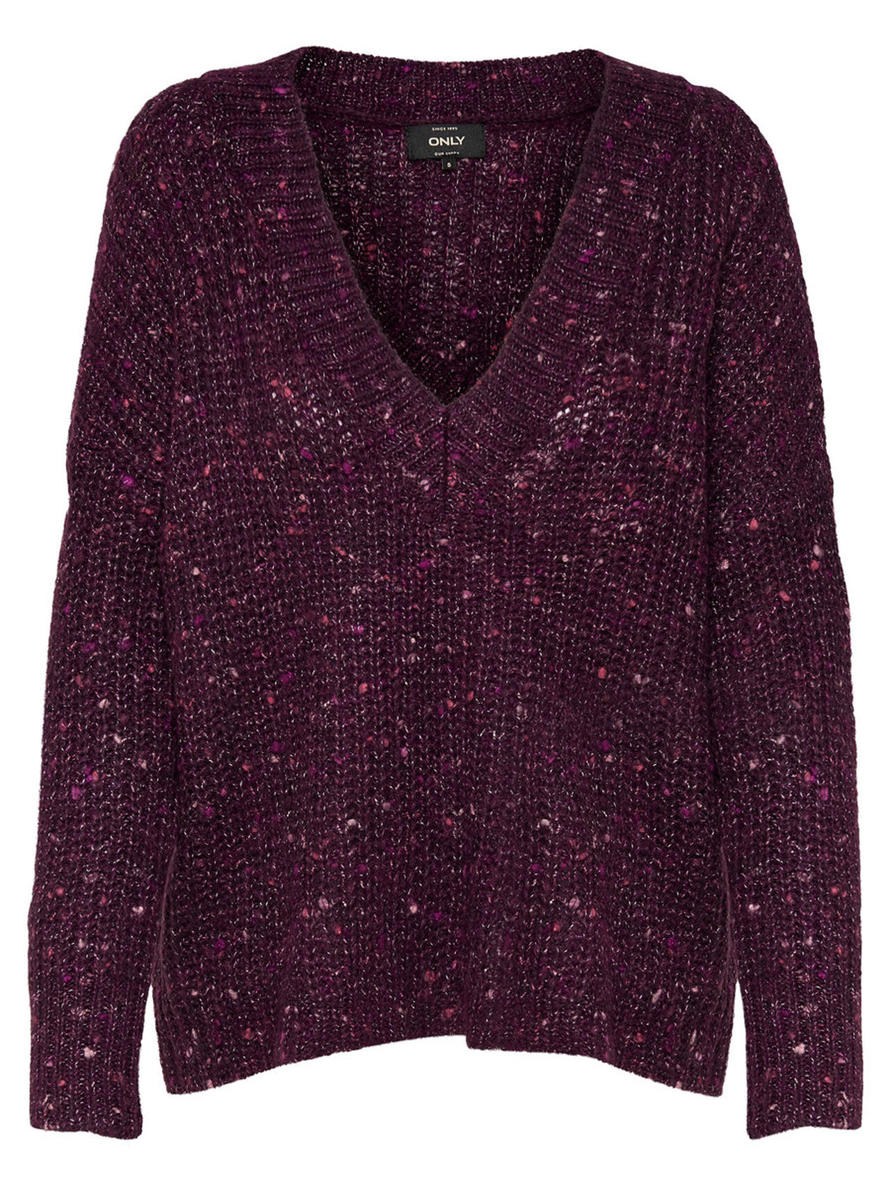 ONLY V-neck Knitted Pullover Women Purple