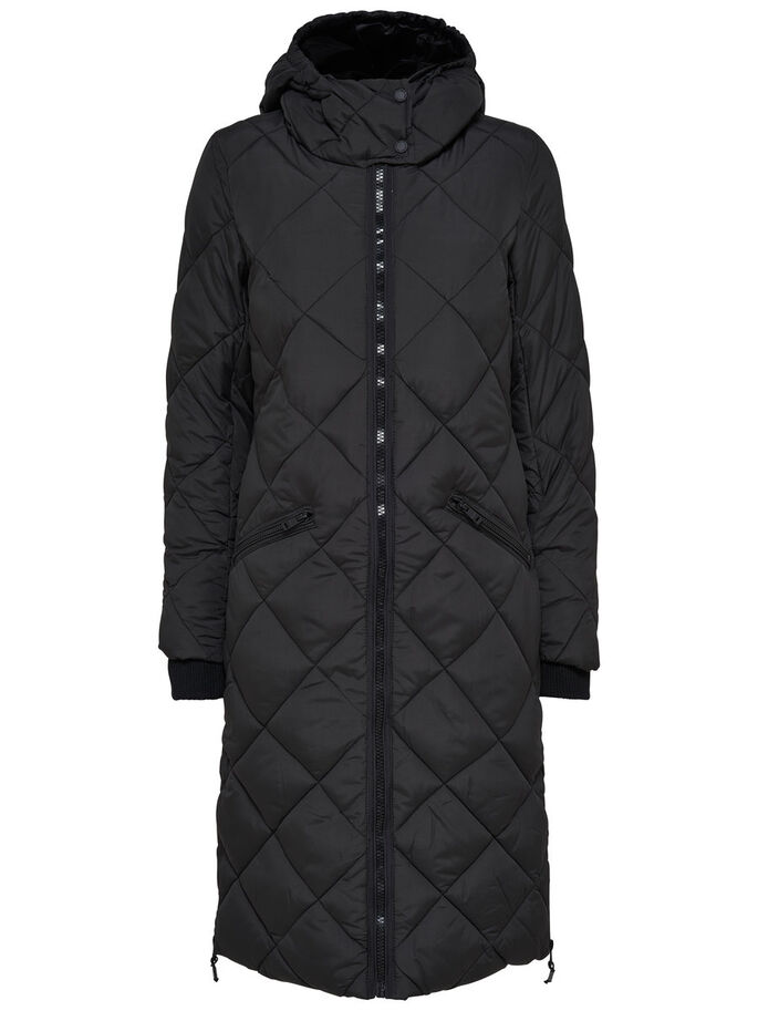 NYLON MATELASSÉ MANTEAU, Black, large
