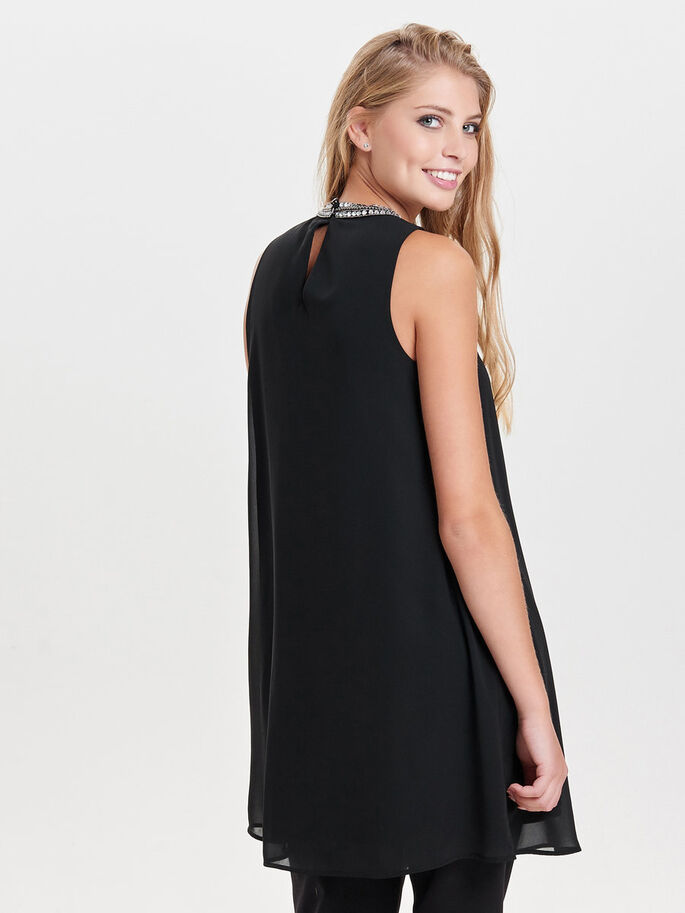 FORME TRAPÈZE ROBE SANS MANCHES, Black, large