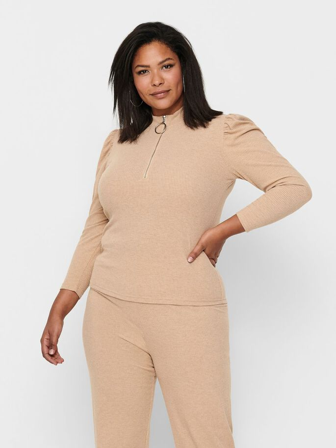 CURVY PUFF SLEEVE TOP, Sesame, large